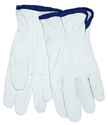 MCR Safety 3601M Premium Grain Goatskin Driver Gloves with Straight Thumb, White, Medium, 12-Pair