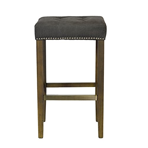 Design Tree Home Upholstered Bar Stool, Tufted with Silver Nail Heads, Frost Grey (Bar Brass Oak Stool)