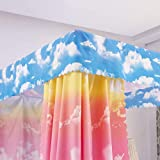 Mengersi Cloud Sky Rainbow Four Corner Post Bed