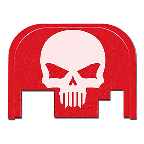BASTION Rear Cover Slide Back Plate for Glock - Skull (Red) (Threaded Barrel For Glock 22 Gen 4)