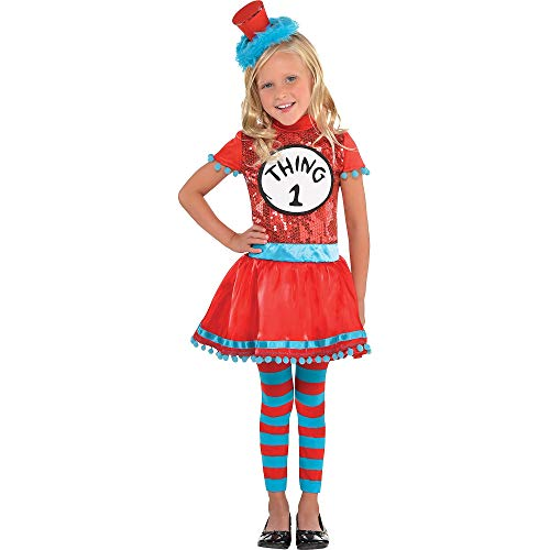 Costumes USA Dr. Seuss Thing 1 & Thing 2 Dress Halloween Costume for Toddler Girls, 3-4T, with Included -