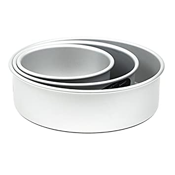 Cake Pan Set of 3, Round 3 Inches 6,8 10 inches by Fat Daddio s