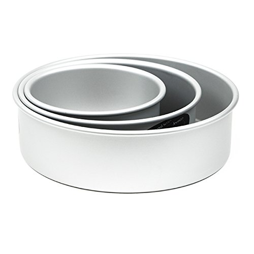 Cake Pan Set of 3, Round 3 Inches 6,8 & 10 inches by Fat Daddio's ()