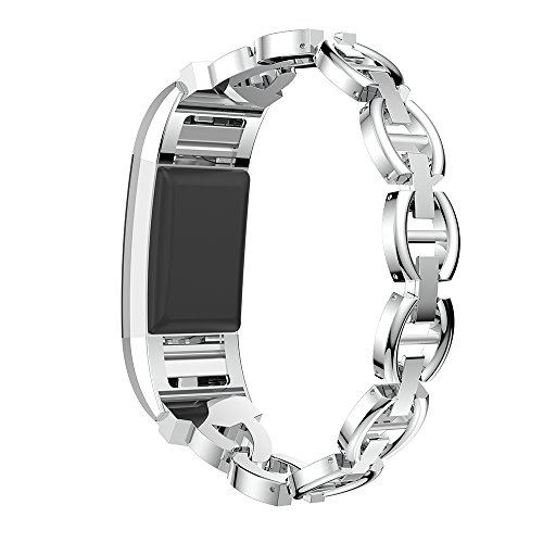 elecfan Replacement Metal Bands Compatible for Fitbit Charge 2, Adjustable Fashion Bling Rhinestone Smart Watch…