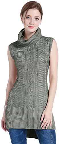 60a4da4cbe v28 Women s Cowl Neck Cable Knit Stretchable Sleeveless Tops Pullover  Sweater