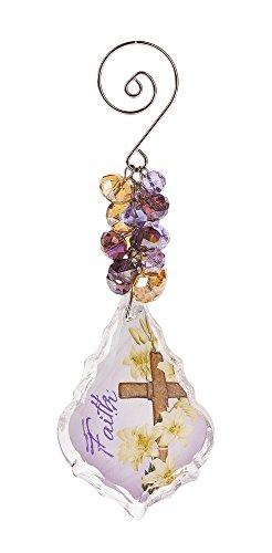 G Ganz Inspirational Glass Keepsake 4.5 inches Ornament - Cross Faith
