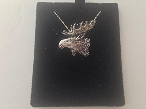 Tête de A27Moose Fine 3D en étain anglais–Collier Femme–Plaqué Platine fait main 45,7cm avec fierté en détail emballage