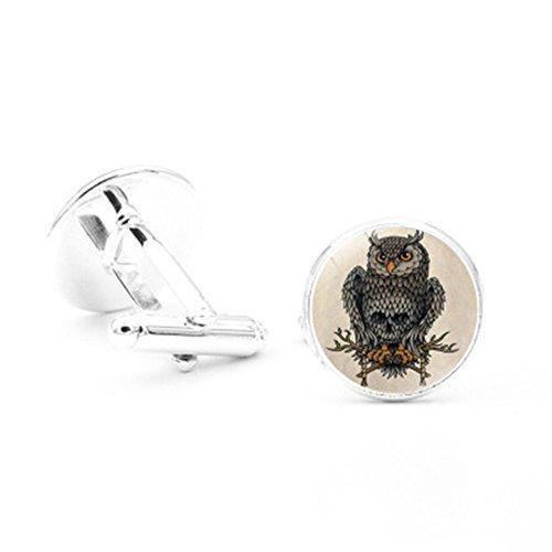 Da.Wa Owl Time Gem Metal Cufflinks Mens Cuff link Round Shape Cufflinks Gift for Men/Father's Day/Lover/Friends/Wedding/Anniversaries/Birthdays by Da.Wa (Image #3)