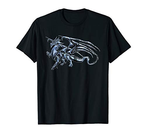 Winged Dragon Tribal Tattoo Light Blue Silhouette Image T-Shirt