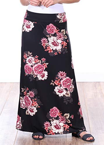 Popana Womens Casual Long Convertible Print Maxi Skirt Plus Size - Made in USA DT08 ()