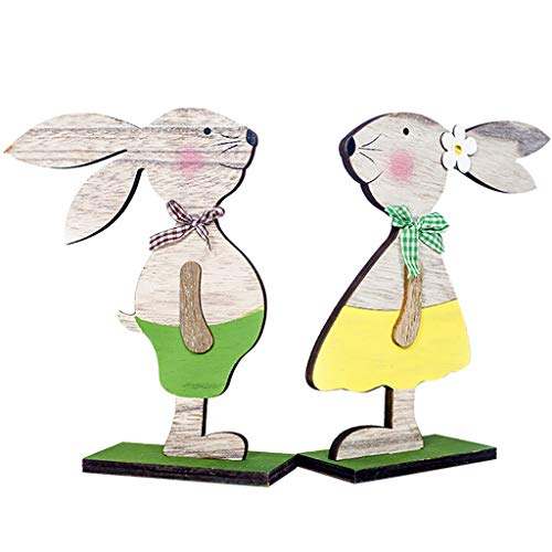 Iusun Easter Decorations Wooden Rabbit Shapes Home Table Top Decor Pendant Wedding Festival Holiday Christmas Halloween Party Valentine's Day New Year Ornaments Craft Gifts 2PCS (A) ()