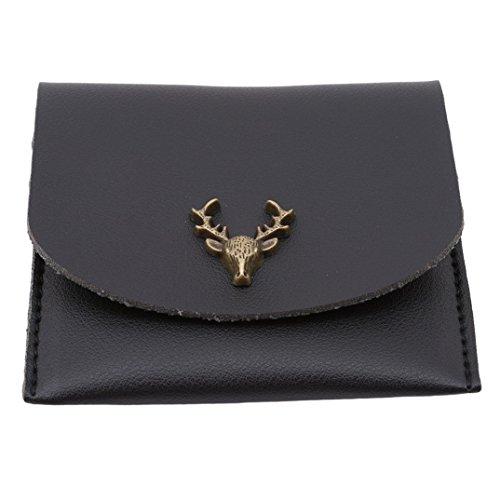 Leather Black Coin Purse Pouch Change metal Vintage Women Bag Wallet Mini Deer Joofff qzwaBUa