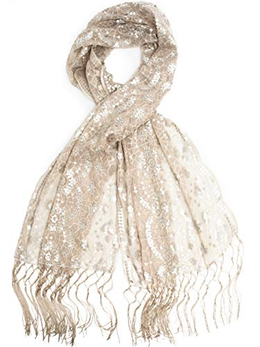 (Bohomonde, Vera, Vintage Inspired Sequin Shawl, Evening Wrap, Embroidered Sequin Fringe Shawl or Scarf (Ivory/Satin)