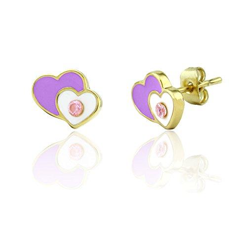 Crystal Heart Kids Earrings | Stud Earrings Jewelry Sets for Girls | 18k Gold Plated Stud Earrings for (Pierced Heart)