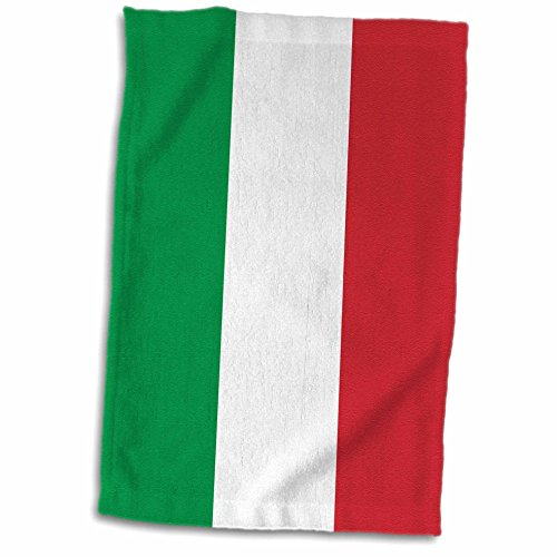 3dRose 3D Rose Flag of Italy Square. Italian Green White Red Vertical Stripes European Europe World Travel Souvenir Towel, 15