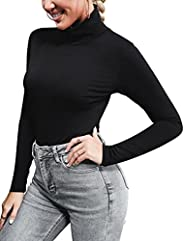Cowasto Women's Long Sleeve Mock Turtleneck Lightweight Slim Fit Thermal