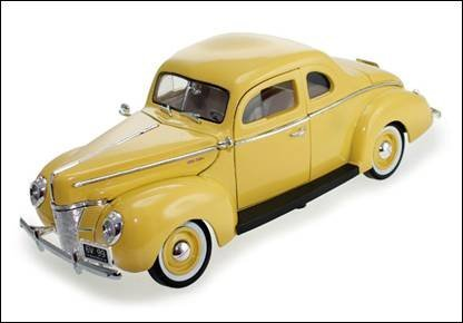 1939 Ford Coupe - 1940 Ford Coupe Deluxe Yellow 1/18 by Motormax 73108