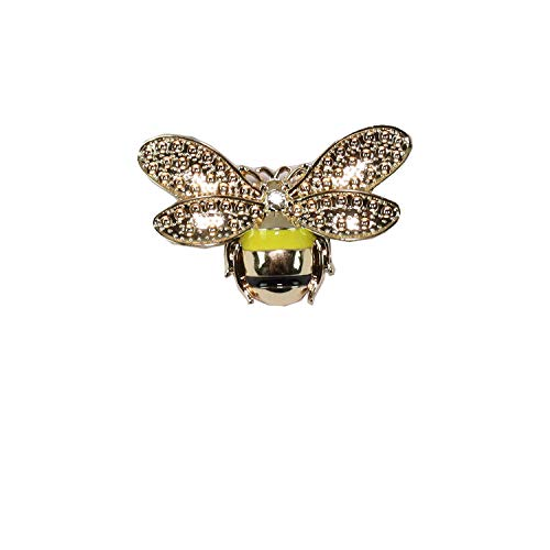 Women's Fashion Brooches & Pin Letter Designed Metal and Crystal Paved with Multi-Options (Bee-Yellow)