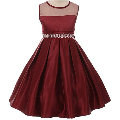 Big Girl Elegant Sleeveless See-Thru Neck Satin Pleated Skirt Rhinestones Waist Flower Girl Dress Burgundy - Size 10 (Tea Square Length Satin)