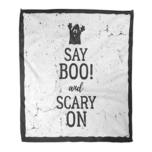 Golee Throw Blanket Halloween Label Text Say Boo and Scary on Retro Effect 50x60 Inches Warm Fuzzy Soft Blanket for Bed Sofa ()