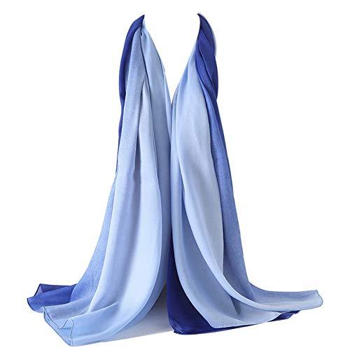 (Bellonesc Silk Scarf 100% silk Long Lightweight Sunscreen Shawls for Women (blue-light blue))