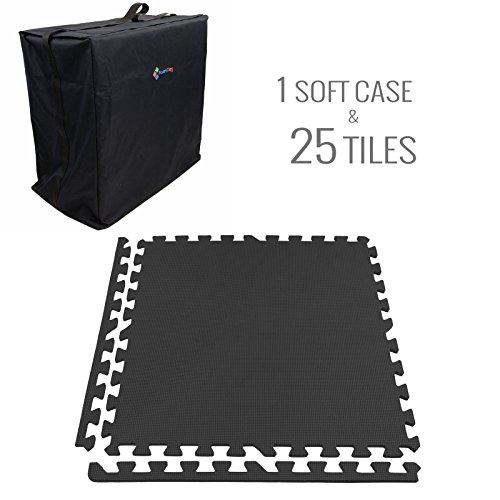 IncStores - Eco-Soft + Foam Tiles (25 Graphite Tiles with Soft Case) Trade Show Kits Ideal for 10 ft x 10 ft Booth with Border Pieces Included