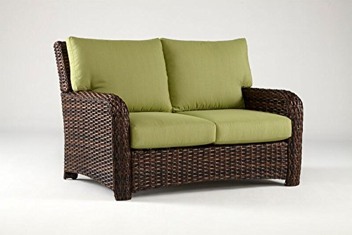 South Sea Rattan Saint Tropez Collection Loveseat with Cushions, Jockey Red