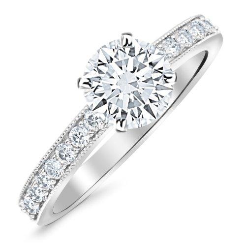 2.3 Carat Platinum Classic Side Stone Pave Set With Milgrain Diamond Engagement Ring Platinum with a 2 Carat Round Cut Moissanite (Heirloom Quality) - Platinum Milgrain Pave
