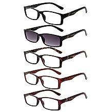 LIANSAN Readers Sunglasses 1.0 1.25 1.5 1.75 2.0 2.25 2.5 2.75 3.0 3.5 4.0 Men's Womens Sun Reading Glasses Eyeglasses with Shades 6500X 5 pairs +1.5