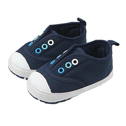 Fire Frog Baby Spring and Autumn Shoes - Zapatos primeros pasos de Lona para niño azul oscuro