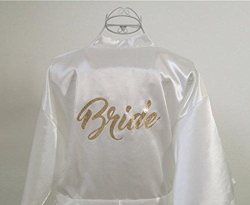 WPFING Vestaglia da Sposa in Bianco Festa della Sposa in Polyester Vestaglia Donna