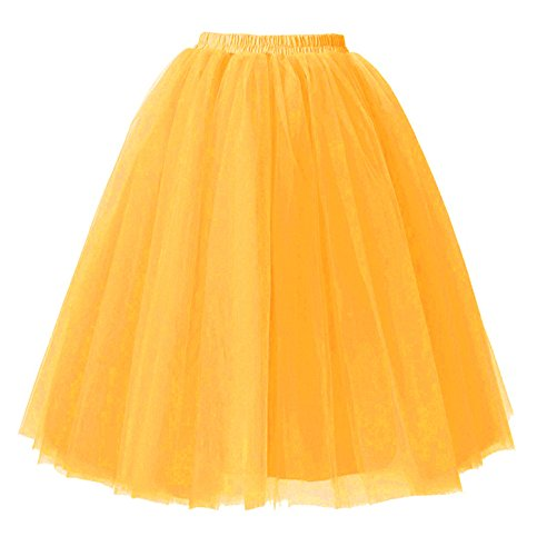 Jupes Tutu Couches 5 Orange Tulle Femmes 65cm Robe Genou Jupons Longueur Facent sous nOw4qYTW