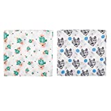 Baby Swaddle Blankets,Muslin Swaddles,Baby Swadding Wrap,100% Cotton Muslin Swaddle 2 Pack 47''x 47''(Cactus,Wolf)