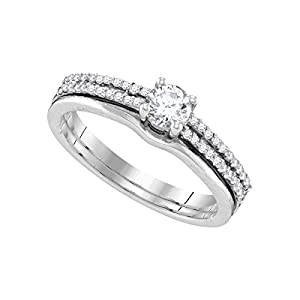 14k White Gold Womens Round Diamond Slender Double Row Bridal Wedding Engagement Ring Band Set 1/2 Cttw