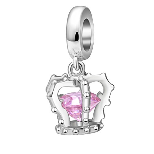 rincess Crown Charms Pendant Solid 925 Sterling Silver Royal Crown Dangle Beads for European Bracelet Necklace (Pink Crystal Dangling) ()