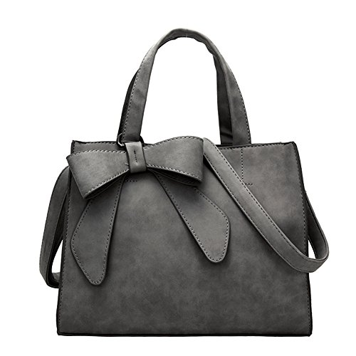 Women's Tote Purses and Handbags Bow Tie Leisure Top-Handle Cross-body Shoulder Bags (Dark Grey)