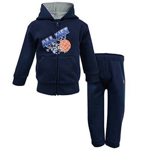 ooded Fleece Sets (12M, Basketball Navy) (Fleece Embroidered Basketball)