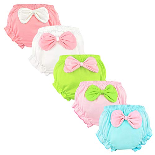 Baby Girls' Toddler Bloomers Diaper Covers Briefs Underwear Set with Cotton Bow Ruffle for Infant Kids Girls 0-3T 5-Pack (2-3 Years)