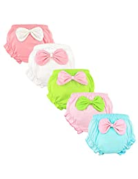 Guozyun Baby Girls' Toddler Bloomers Diaper Covers Briefs Underwear Set for Infant Kids 0-3T 5-Pack