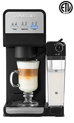 Latte Milk Frother (Gourmia GCM4000 3 In 1 Single Serve -1 Touch -K-Cup Compatible Coffee Cappuccino & Latte Maker -Built-In Milk Frother -Steams Milk Straight in Cup -1450W -Black)