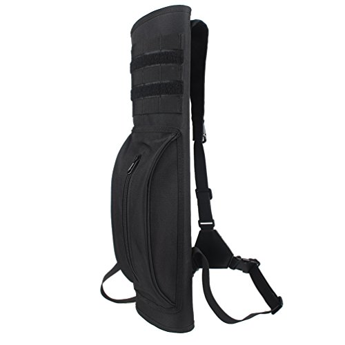 XTACER Heavy Duty Arrow Quiver Hunting Training Archery Arrow Target Quiver Holder Bow Belt Shoulder Bag Pouch, Back Quiver (Black - With Molle Webbing) (Arrow Holder For Case)
