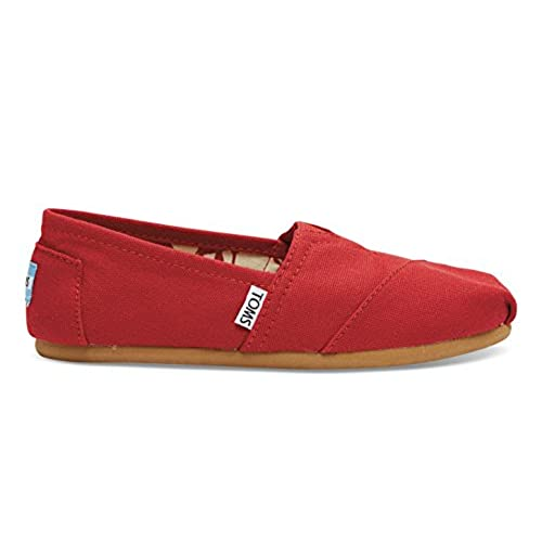 TOMS Women's Classic Canvas Slip-on,Red,9 M