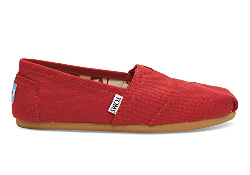 TOMS Women's Classic Canvas Slip-on,Red,5.5 M