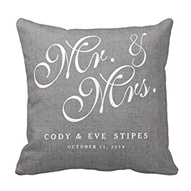 Decors Gray Linen Initials Mr. and Mrs. Wedding Pillow