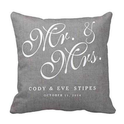 Decors Gray Linen Initials Mr. and Mrs. Wedding Pillow