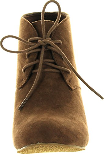 Anna Sally 5 Womens Adorable Almond Toe Lace Up Wedge Ankle Bootie Ankle Bootie