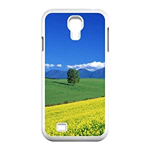 Okaycosama Funny Samsung Galaxy S4 Cases Field of Flowers Japan Asia Protective for Girls, Phone Case for Samsung Galaxy S4, [White]