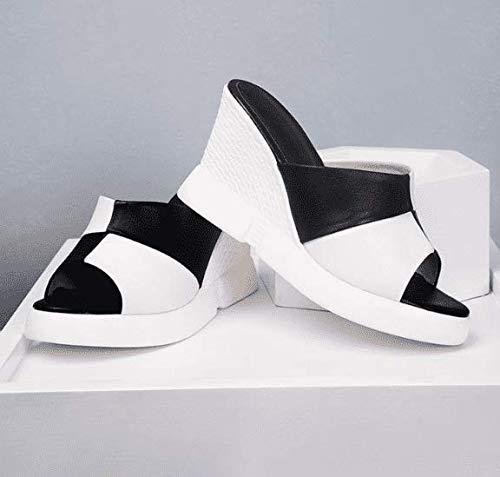 Blanc AWXJX été Tongs Femme Chaussures Talon Haut étudiant Occasionnel en Simili Cuir épais Bas Pente 5.5 US 35.5 EU 3 UK