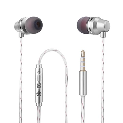 Wired Earphones Earbuds In ear Headphones Microphone Bass Stereo Sports Running Noise-isolating Headphones with Mic For IPhone IPad Android HTC Mp3 mp4 Player Tablet 3.5mm Audio Jack Silver White