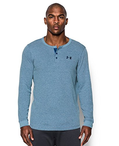 Under Armour Men's Waffle Henley, Heron/Midnight Navy, Small